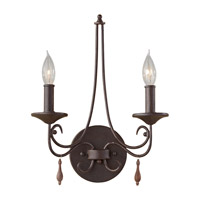 Aliya 2 Light 12 inch Rustic Iron Wall Sconce Wall Light