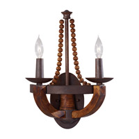 Adan 2 Light 12 inch Rustic Iron and Burnished Wood Wall Sconce Wall Light