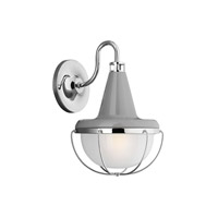 Livingston 1 Light 13 inch High Gloss Gray and Polished Nickel Outdoor Lantern Wall Sconce in Standard