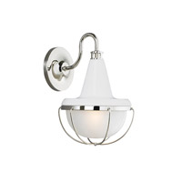 Livingston 1 Light 13 inch High Gloss White and Polished Nickel Outdoor Lantern Wall Sconce in Standard