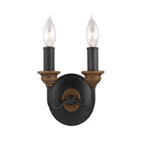 Feiss Hartsville 2 Light Wall Sconce in Dark Weathered Zinc / Weathered Oak WB1756DWZ/WO