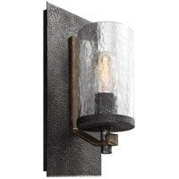 Angelo 1 Light 6 inch Distressed Weathered Oak and Slated Grey Metal Vanity Light Wall Light