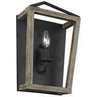 Gannet 1 Light 9 inch Weathered Oak Wood and Antique Forged Iron Wall Sconce Wall Light
