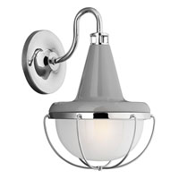 Livingston 1 Light 13 inch High Gloss Gray and Polished Nickel Outdoor Wall Lantern in Fluorescent