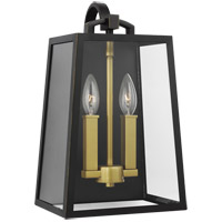 Feiss OL14502ANBZ/PBB Lindbergh 15 inch Antique Bronze and Painted Burnished Brass Outdoor Wall Lantern