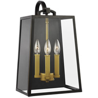 Feiss OL14503ANBZ/PBB Lindbergh 18 inch Antique Bronze and Painted Burnished Brass Outdoor Wall Lantern