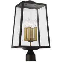 Feiss OL14504ANBZ/PBB Lindbergh 20 inch Antique Bronze and Painted Burnished Brass Post Lantern