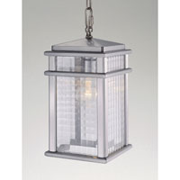 Feiss OL3411BRAL Mission Lodge 1 Light 7 inch Brushed Aluminum Outdoor Hanging Lantern in Standard, Clear Checked Glass alternative photo thumbnail