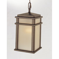 Feiss OL3411CB Mission Lodge 1 Light 7 inch Corinthian Bronze Outdoor Hanging Lantern in Standard, Amber Ribbed Glass alternative photo thumbnail