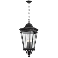Cotswold Lane 14 inch Black Outdoor Hanging Lantern in Clear Beveled Glass