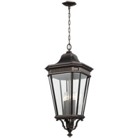 Cotswold Lane 14 inch Grecian Bronze Outdoor Hanging Lantern in Clear Beveled Glass