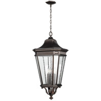 Cotswold Lane 14 inch Grecian Bronze Outdoor Hanging Lantern in Clear Seedy Glass