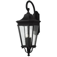 Cotswold Lane 36 inch Black Outdoor Wall Lantern in Clear Seedy Glass