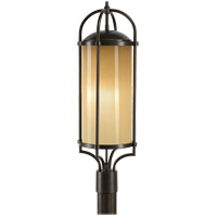 Feiss OL7607HTBZ Dakota 3 Light 28 inch Heritage Bronze Post Lantern in Standard, Aged Oak Glass alternative photo thumbnail