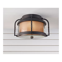 Feiss Menlo Park 2 Light Outdoor Flush Mount in Textured Black OL9213TXB