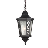 Feiss Wembley Park 3 Light Outdoor Lantern Hanging in Textured Black OL9511TXB