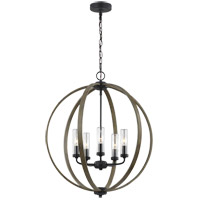 Allier 24 inch Weathered Oak Wood and Antique Forged Iron Outdoor Chandelier