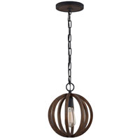 Feiss Allier 1 Light Pendant in Weather Oak Wood and Antique Forged Iron P1302WOW/AF