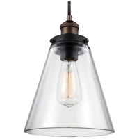 Baskin 1 Light 9 inch Painted Aged Brass / Dark Weathered Zinc Pendant Ceiling Light in Standard