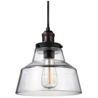 Baskin 1 Light 10 inch Painted Aged Brass / Dark Weathered Zinc Pendant Ceiling Light in Standard