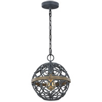 Feiss P1471WZC/WOW Avila 10 inch Weathered Zinc and Weathered Oak Pendant Ceiling Light