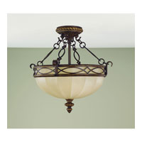 Feiss Drawing Room 3 Light Semi Flush Mount in Walnut SF220WAL