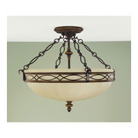 Feiss Drawing Room 3 Light Semi Flush Mount in Walnut SF221WAL