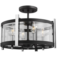 Feiss SF347TXB/CH Broderick 15 inch Textured Black Semi-Flush Mount Ceiling Light