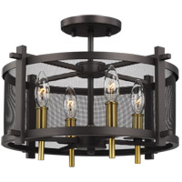 Palmyra 16 inch Oiled Rubbed Bronze and Burnished Brass Semi-Flush Mount Ceiling Light