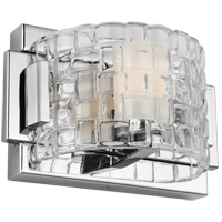Feiss VS24341CH-L1 Brinton LED 8 inch Chrome Wall Bath Fixture Wall Light in Clear Basketweave, 1