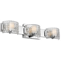 Feiss VS24343CH-L1 Brinton LED 25 inch Chrome Wall Bath Fixture Wall Light in Clear Basketweave, 3