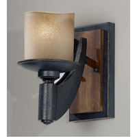 Feiss Madera 1 Light Wall Sconce in Antique Forged Iron and Aged Walnut WB1519AF/AGW