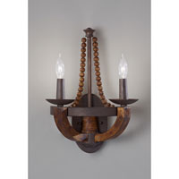 Feiss Adan 2 Light Wall Bracket in Rustic Iron and Burnished Wood WB1591RI/BWD