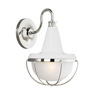 Feiss Livingston 1 Light Wall Sconce in High Gloss White and Polished Nickel WB1727HGW/PN