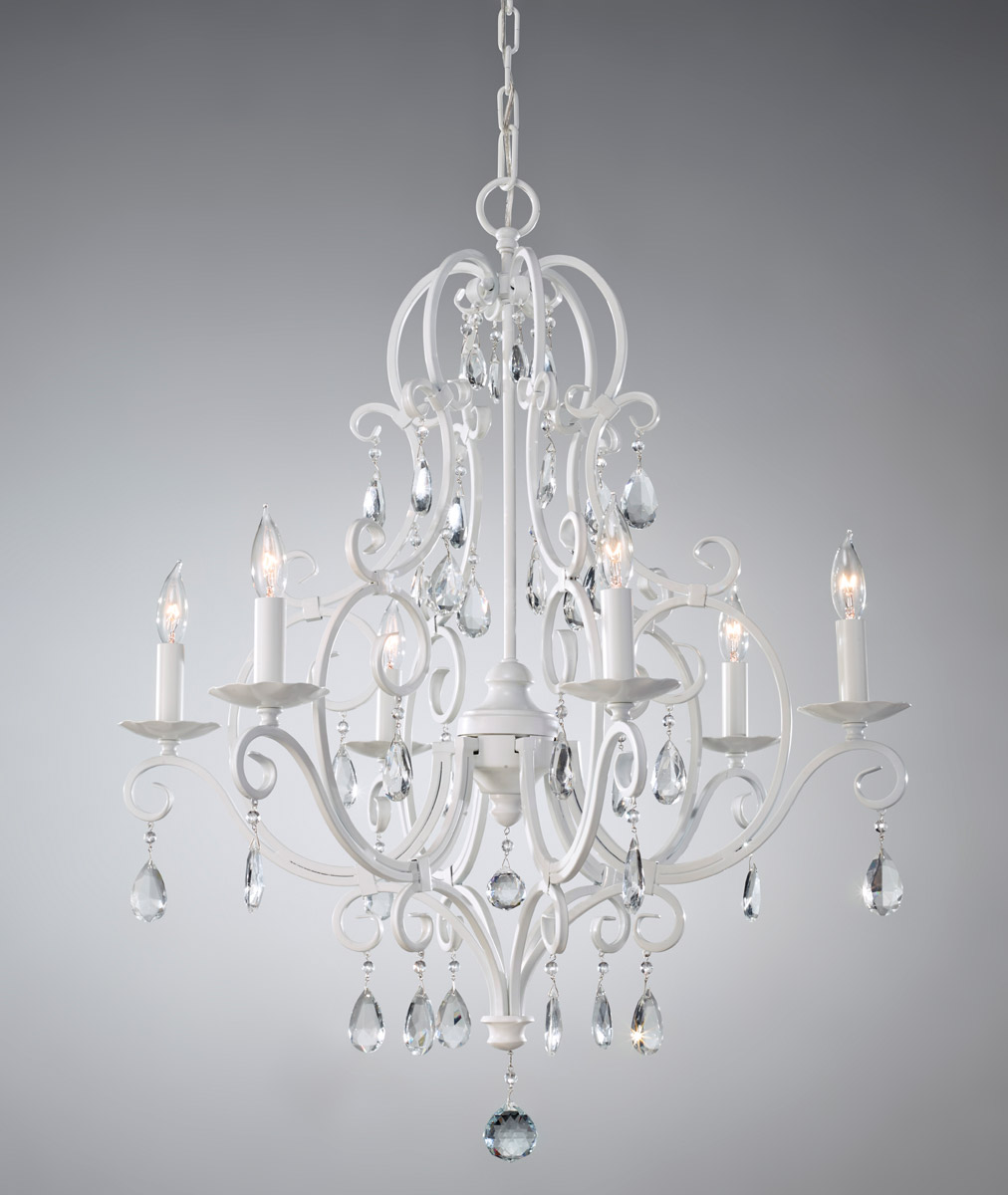 Feiss Chateau Blanc 6 Light Chandelier In Semi Gloss White