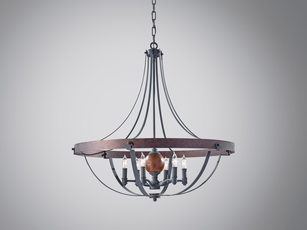 Feiss Alston Six Light Chandelier In Af And Charcoal Brick And Acorn Fafcba