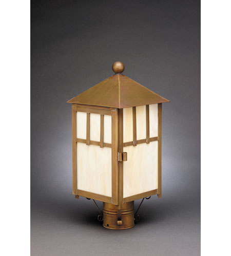 Northeast Lantern 1733-AB-MED-CRML Lodge 1 Light 16 inch Antique Brass Post Lantern in Caramel Glass photo