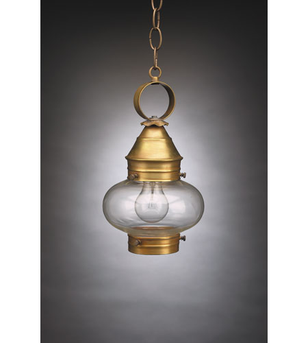 Northeast Lantern 2022-AB-MED-CLR Onion 1 Light 7 inch Antique Brass Hanging Lantern Ceiling Light in Clear Glass photo