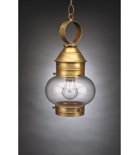 Northeast Lantern 2032-AB-MED-CLR Onion 1 Light 8 inch Antique Brass Hanging Lantern Ceiling Light in Clear Glass photo