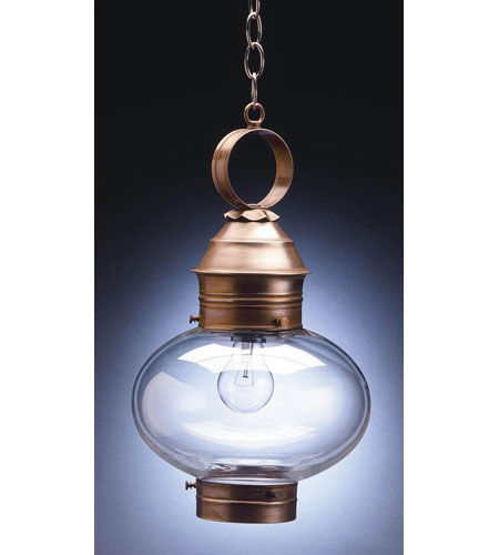 Northeast Lantern 2042-AB-MED-CLR Onion 1 Light 10 inch Antique Brass Hanging Lantern Ceiling Light in Clear Glass photo