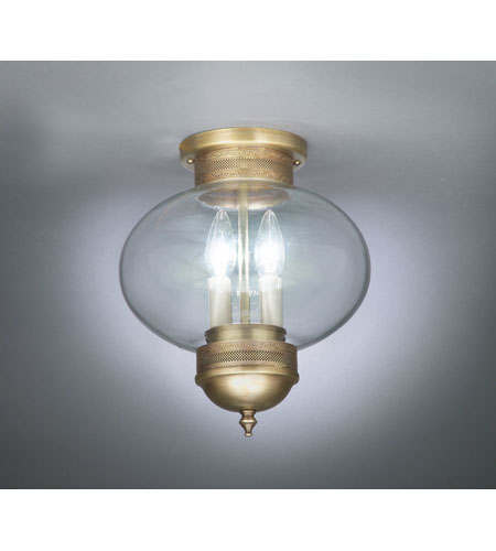 Northeast Lantern 2044G-AB-LT2-CLR Onion 2 Light 10 inch Antique Brass Flush Mount Ceiling Light in Clear Glass photo