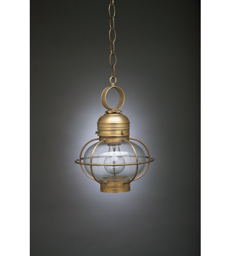 Northeast Lantern 2522G-AB-MED-CLR Onion 1 Light 9 inch Antique Brass Hanging Lantern Ceiling Light in Clear Glass photo