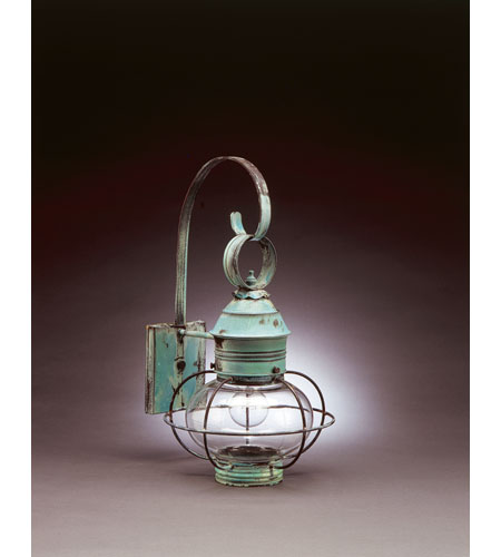 Northeast Lantern 2531-VG-MED-CLR Onion 1 Light 19 inch Verdi Gris Outdoor Wall Lantern in Clear Glass, Standard Scroll photo