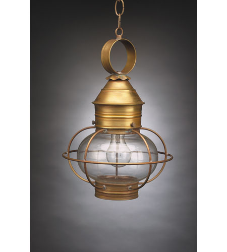 Northeast Lantern 2532-AB-MED-CLR Onion 1 Light 11 inch Antique Brass Hanging Lantern Ceiling Light in Clear Glass photo