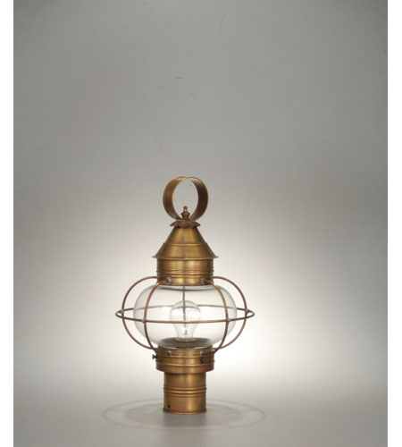 Northeast Lantern 2533-AB-MED-CLR Onion 1 Light 19 inch Antique Brass Post Lantern in Clear Glass