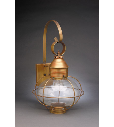 Northeast Lantern 2541-AB-MED-CLR Onion 1 Light 21 inch Antique Brass Outdoor Wall Lantern in Clear Glass, Standard Scroll, Medium photo