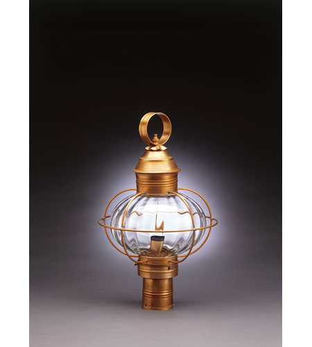 Northeast Lantern 2543-AB-MED-OPT Onion 1 Light 20 inch Antique Brass Post Lantern in Optic Glass, Medium