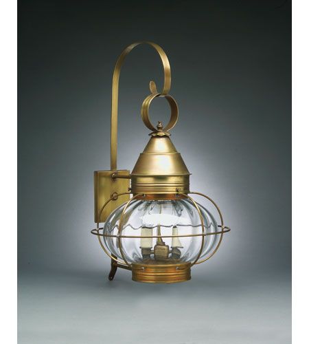 Northeast Lantern 2571-AB-LT2-OPT Onion 2 Light 25 inch Antique Brass Outdoor Wall Lantern in Optic Glass, Candelabra photo
