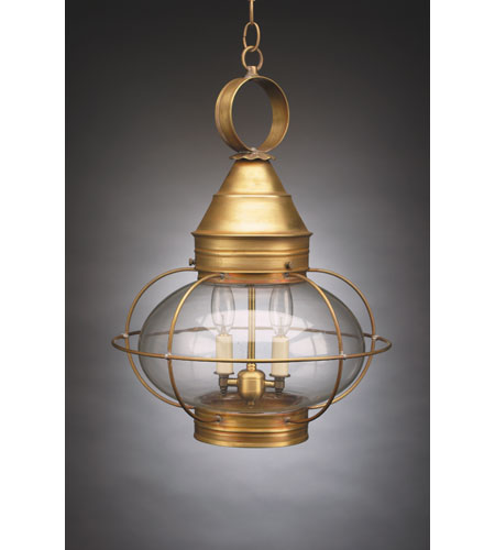 Northeast Lantern 2572-AB-LT2-CLR Onion 2 Light 15 inch Antique Brass Hanging Lantern Ceiling Light in Clear Glass, Candelabra photo