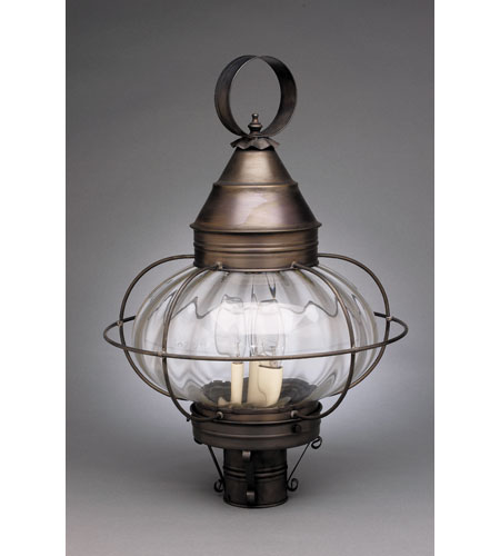 Northeast Lantern 2573-DB-LT3-OPT Onion 3 Light 22 inch Dark Brass Post Lantern in Optic Glass, Candelabra